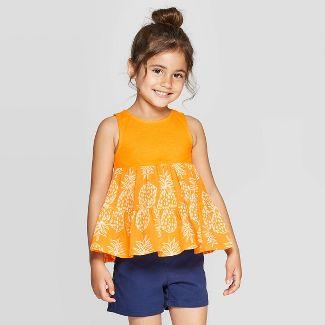 Toddler Girls' Knit Woven Blouse - Cat & Jack™ Orange 18M