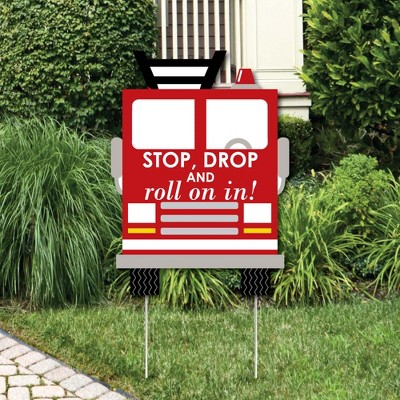 Big Dot of Happiness Fired Up Fire Truck - Party Decorations - Firefighter Firetruck Baby Shower or Birthday Party Welcome Yard Sign
