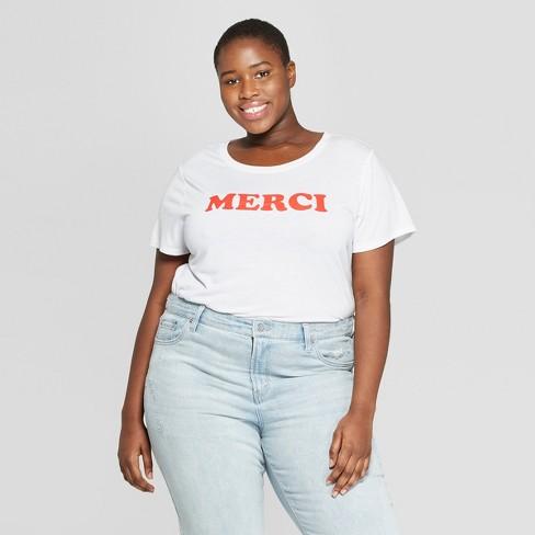 1f54d577929 Women s Plus Size Short Sleeve Merci Graphic T-Shirt - Modern Lux  (Juniors ) - White