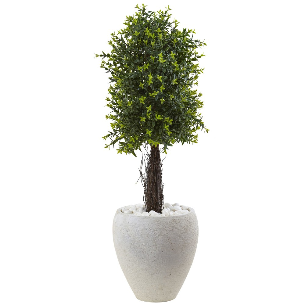 40 Ixora Topiary with White Planter UV Resistant (Indoor/Outdoor) - Nearly Natural, Green