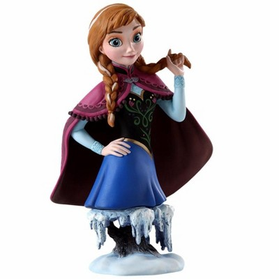 """Disney 7"""" Blue and Burgundy Red Frozen Anna Christmas Tabletop Figurine"""