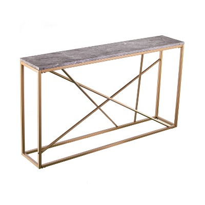 Arendale Faux Marble Skinny Console Table Gray/Gold - Aiden Lane