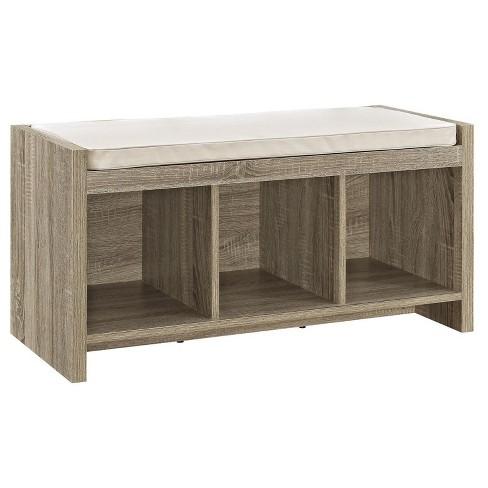 Hendland Entryway Storage Bench With Cushion Distressed Gray Oak Room Joy Target