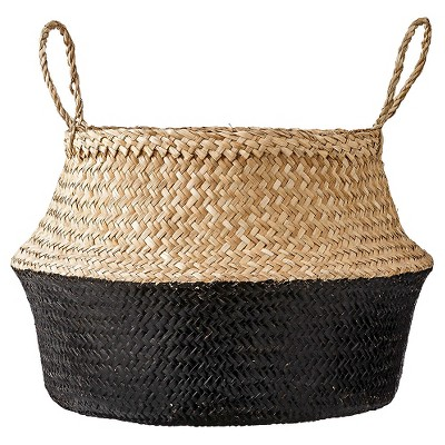 "Seagrass Basket with Handles 11.5"" x 19"" Natural/Black - 3R Studios"