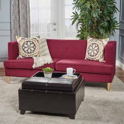 Milton Mid Century Modern Sofa Deep Red - Christopher Knight Home ...
