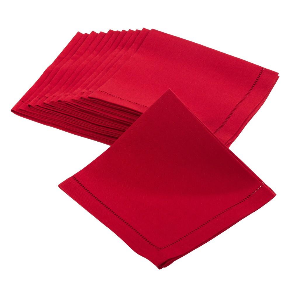 (Set of 12) Red Rochester Dinner Napkin (20) - Saro Lifestyle