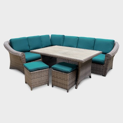 Walton 7pc Wicker Patio Sectional - Teal - Leisure Made