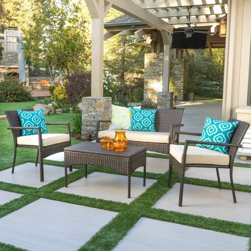 Cancun 4pc All-Weather Wicker Patio Chair Set - Brown - Christopher Knight Home - image 1 of 4