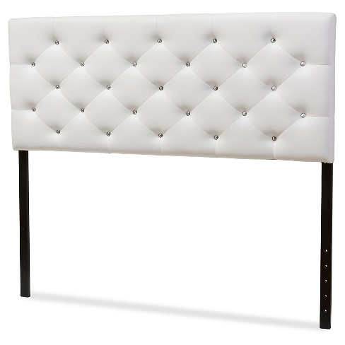 Viviana Modern And Contemporary Faux Leather Upholstered On Tufted Headboard Full White Baxton Studio