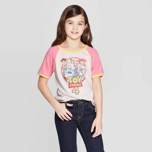 Girls' Toy Story Logo Ringer Short Sleeve T-Shirt - Pink/Gray - image 1 of 3