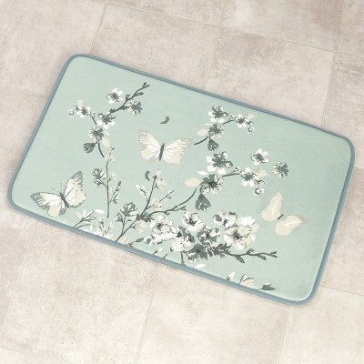 Lakeside Memory Foam Bath Mat – Non-Slip Bathroom Rug - Cherry Blossom and Butterfly - Aqua