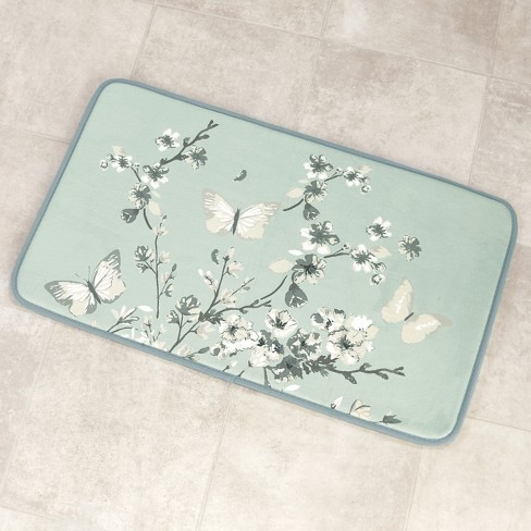 Lakeside Memory Foam Bath Mat Non Slip Bathroom Rug Cherry Blossom And Butterfly Aqua Target