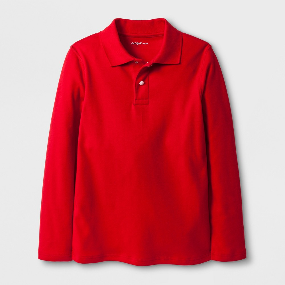 Image of Boys' Adaptive Long Sleeve Polo Shirt - Cat & Jack Red L, Boy's, Size: Large