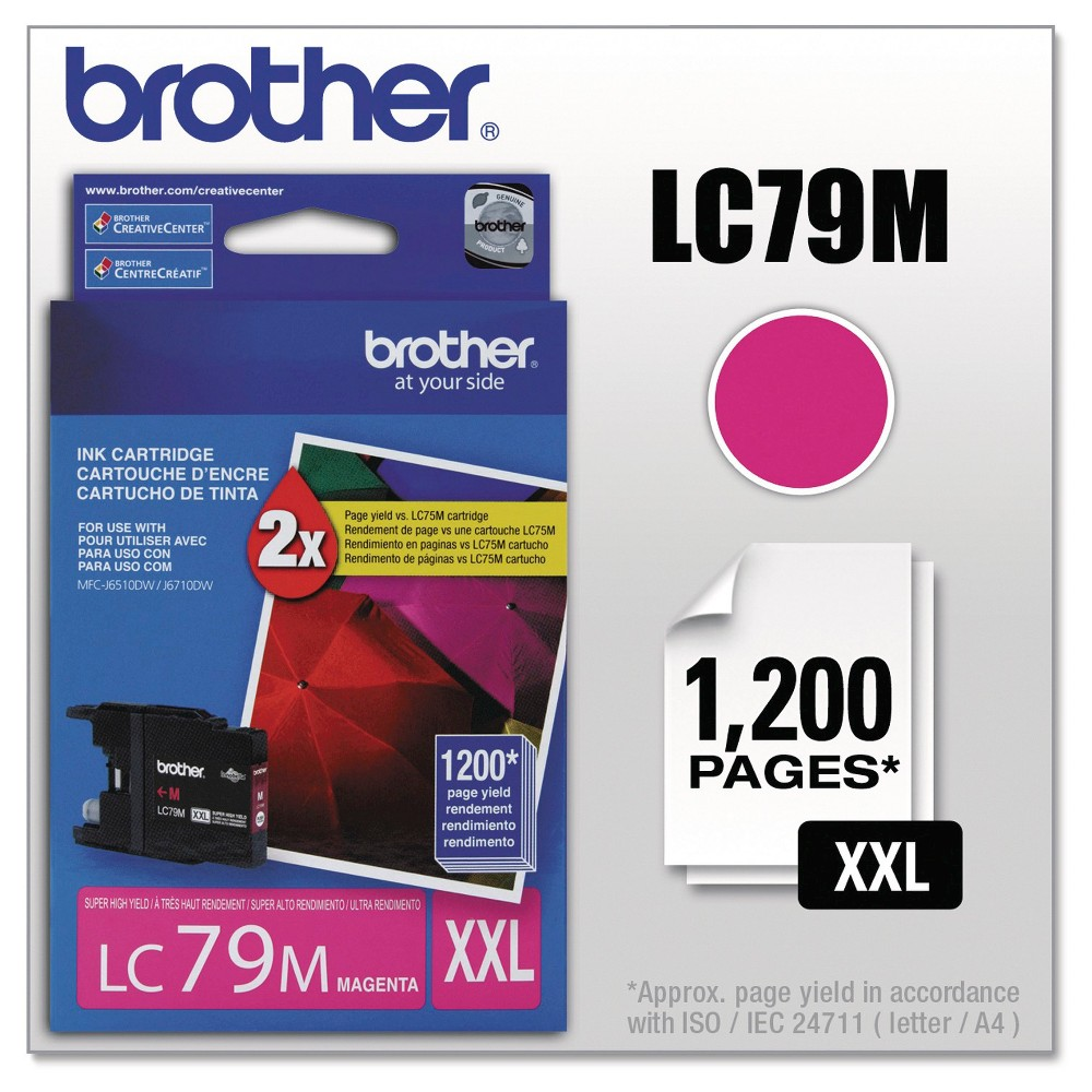 Brother Innobella Super High-Yield Single Ink Cartridge - Magenta (Pink) (BRTLC79M) Genuine Oem quality. Reliable and dependable so that you can count on it when you need it most. Integrates seamlessly with your printer for a quick and clean installation. Device Types: Inkjet Printer; Color(s): Magenta; Page-Yield: 1200; Supply Type: Ink.