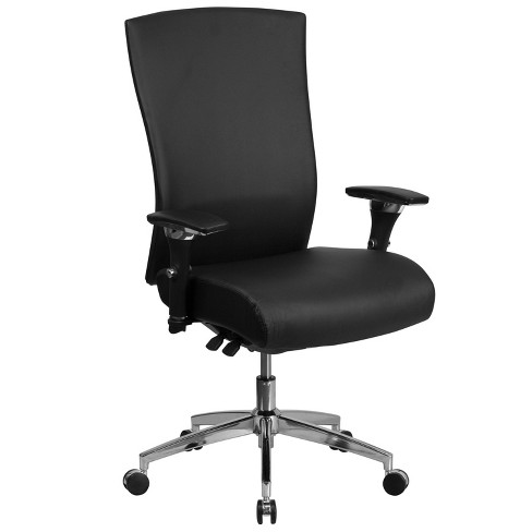"""47.5"""" Leather Multi function Executive Swivel Ergonomic Office Chair with Seat Slider & Lumbar Black - Riverstone Furniture - image 1 of 4"""