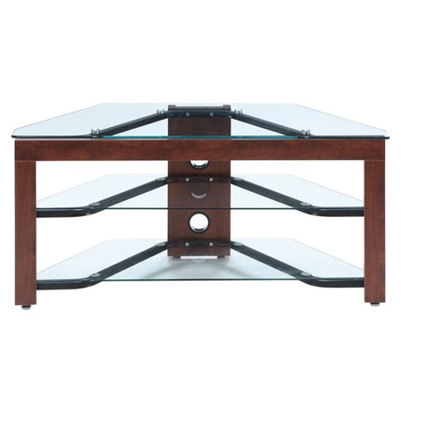 Designs2Go Wood & Glass TV Stand - Cherry / Glass - Johar Furniture - image 1 of 3
