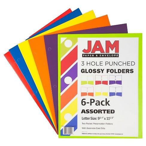 JAM PaperR Glossy 3 Hole Punch Folders 6pk