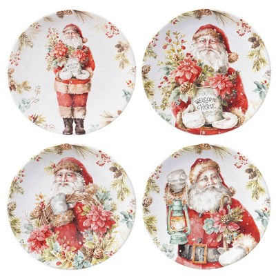 "9"" 4pk Earthenware Christmas Story Dessert Plates - Certified International"