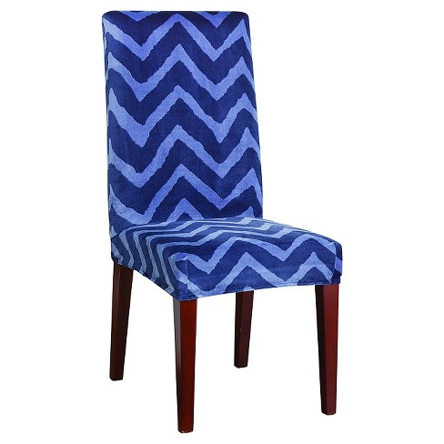 Stretch Plush Chevron Short Dining Room Chair Slipcover Indigo - Sure Fit - image 1 of 4