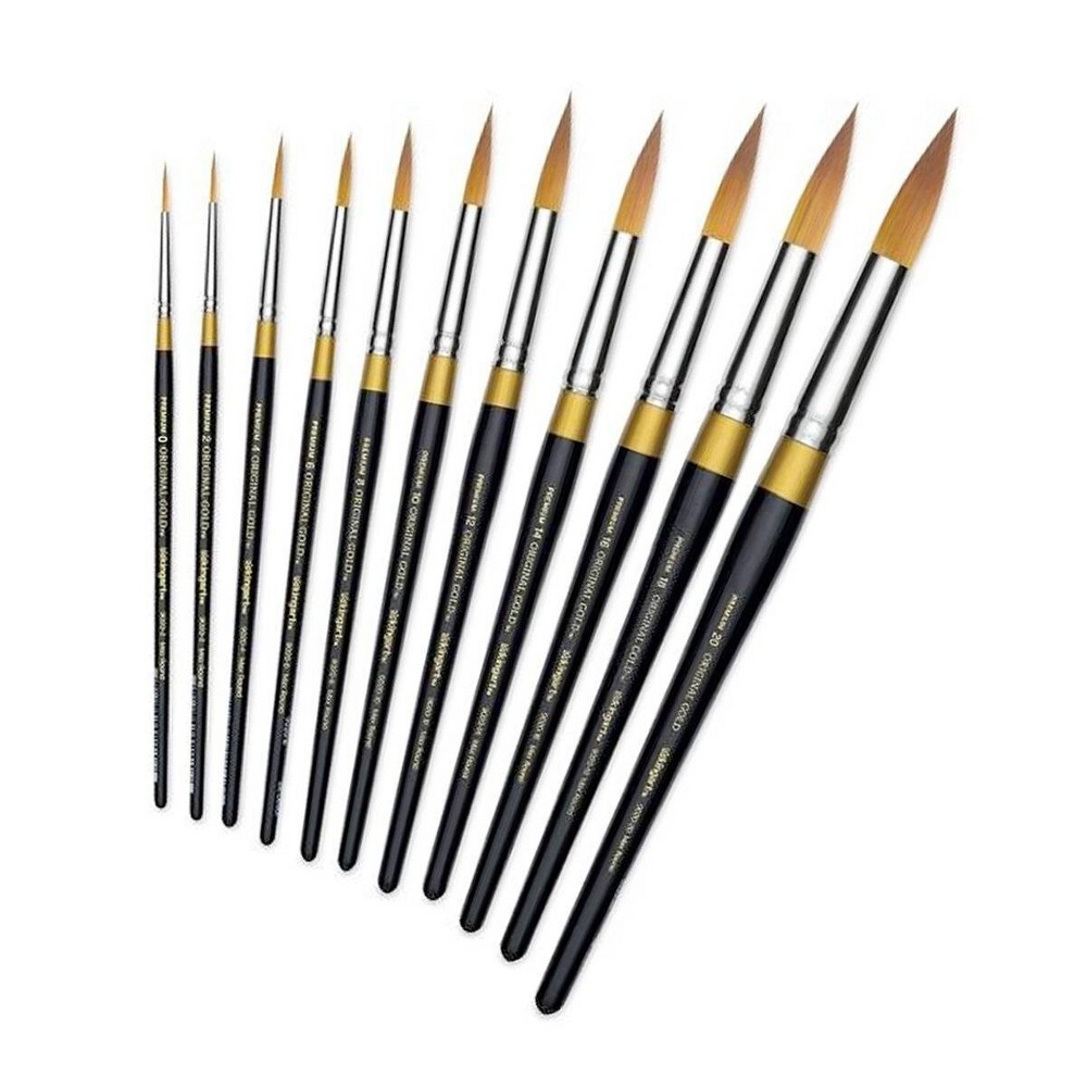 Image of Kingart 11ct Original Max Round Brush Set - Gold
