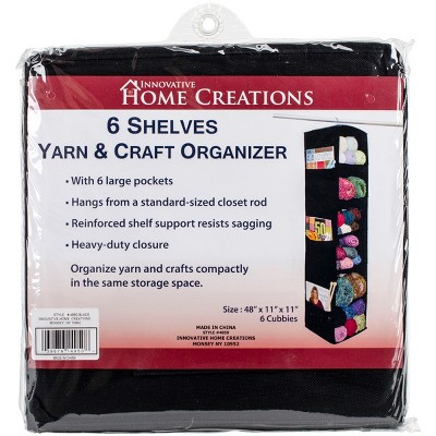 "Innovative Home Creations 6 Shelf Yarn & Craft Organizer -Black 48""X11""X11"""