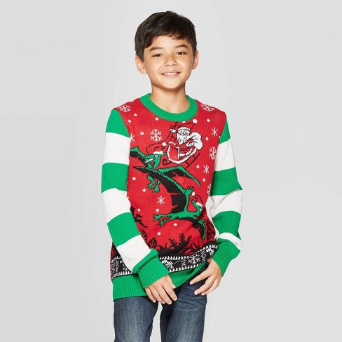 Dinosaur Christmas Sweater.Well Worn Boys Dino Days Santa Ugly Christmas Sweater Red