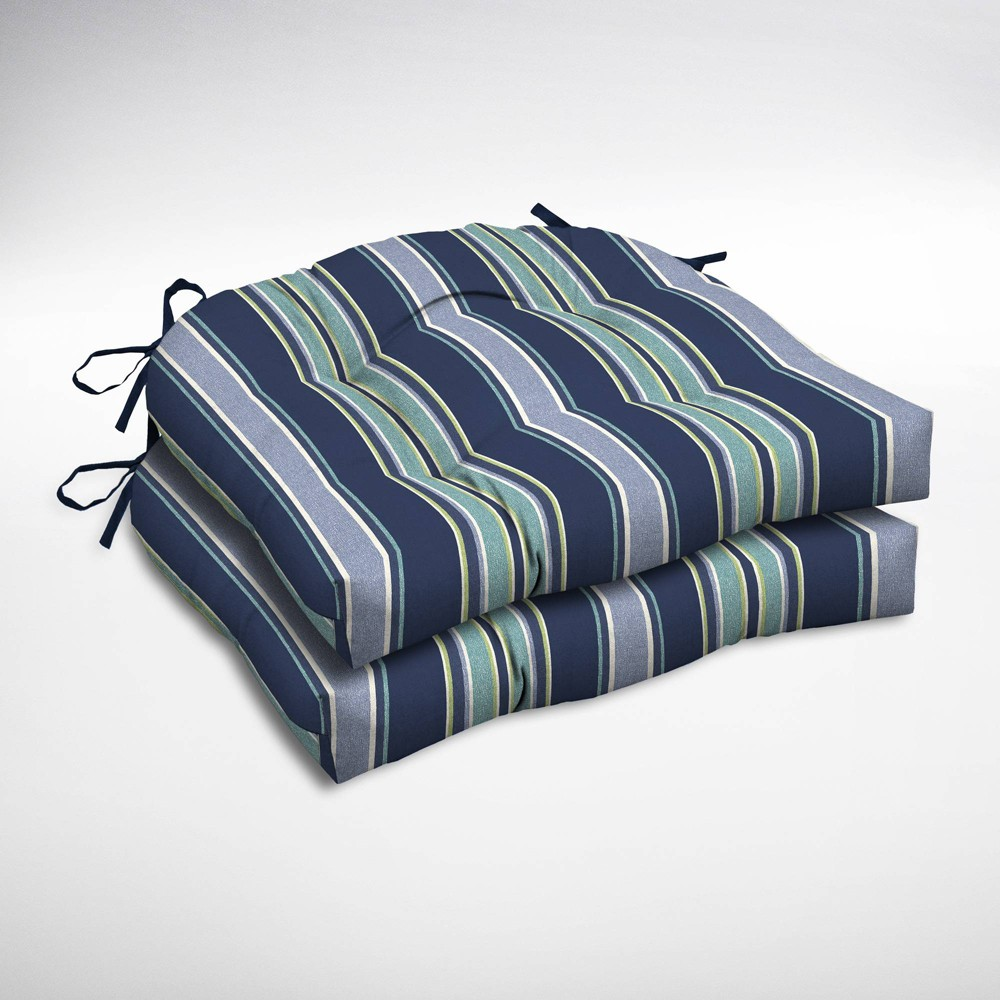 Image of 2pk Aurora Stripe Wicker Chair Cushions Sapphire (Blue) - Arden Selections