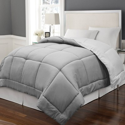 Full/Queen Reversible Microfiber Down Alternative Comforter White/Gray - Blue Ridge Home Fashions