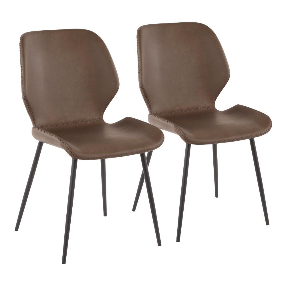 Set of 2 Industrial Serena Chairs Brown/Black - LumiSource