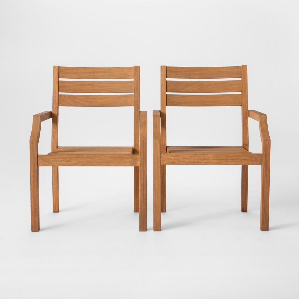 Chesapeake 2pk Wood Patio Dining Chair - Threshold