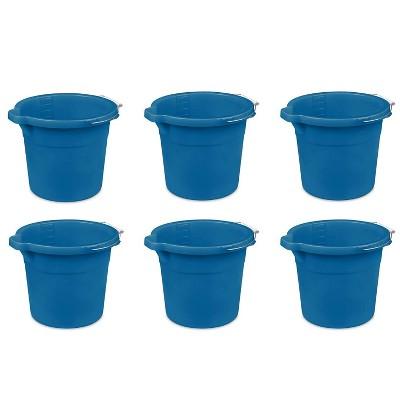 Sterilite Heavy-Duty Extra Large 18-Quart Easy Pour Spout Pail Bucket with Comfortable Grip Handle, Blue (6 Pack)