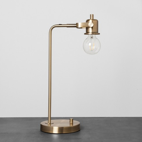 Exposed Bulb Brass Table Lamp Hearth Hand With Magnolia Target