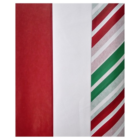 30ct Red/White/Green Striped Tissue Paper - Wondershop™ - image 1 of 1