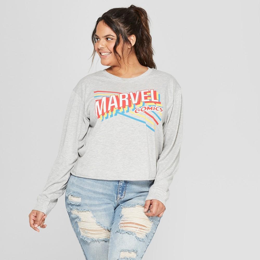 Women's Marvel Comics Plus Size Long Sleeve T-Shirt - (Juniors') Gray 3X