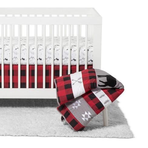 Crib Bedding Set Trend Lab Red Black - image 1 of 4