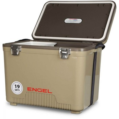 Engel UC19 19 Quart Fishing Live Bait Dry Box Ice Cooler with Stain/Odor-Resistant Surface and Shoulder Strap, Tan