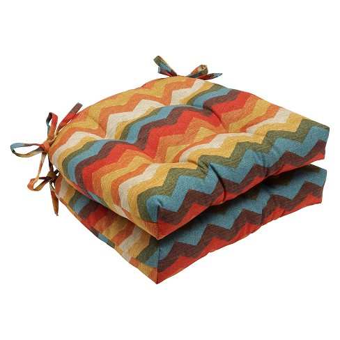 "Multicolored Panama Wave Reversible Chair Pad (Set Of 2) (16""X15.5"") - Pillow Perfect - image 1 of 1"