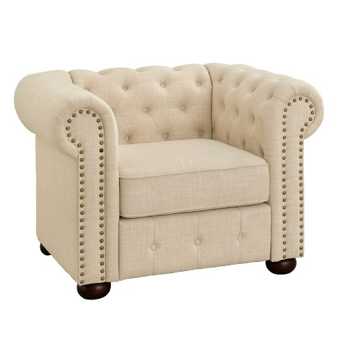 Brianna Chesterfield Chair Beige - Buylateral - image 1 of 4