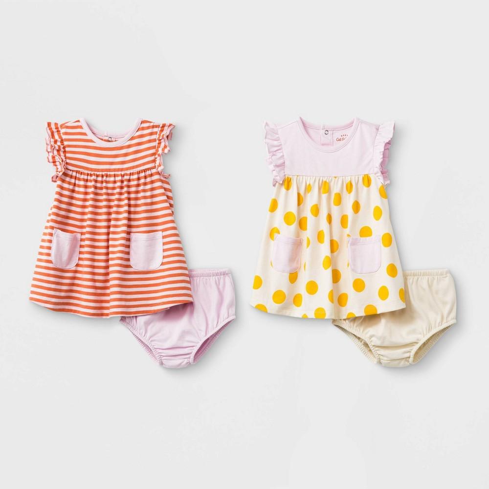 Baby Girls' 2pc Dots & Stripe Dress Set - Cat & Jack Light Pink/Orange 6-9M