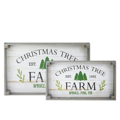 """Northlight Set of 2 Gray and White Farm Fresh Christmas Trees Wooden Tray Hanging Signs 21"""""""