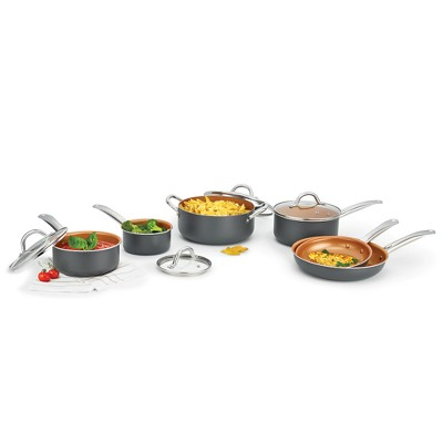Kitchensmith By Bella Copper Titanium Cookware Set 10pc Gray