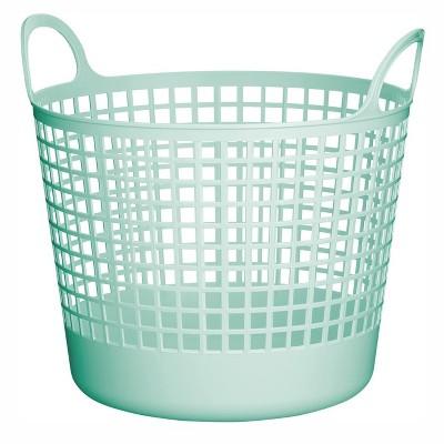 Like-It SCB-1 Midcentury Modern Scandinavian Style Round Durable Plastic Storage Basket for Storage and Organization, Mint Blue