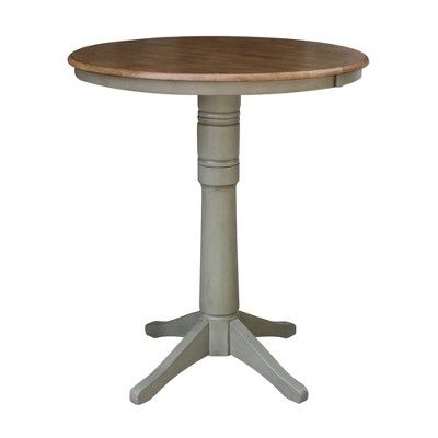 """36"""" Bar Height Magnolia Round Top Pedestal with Drop Leaf Dining Table Hickory Brown/Stone Gray - International Concepts"""