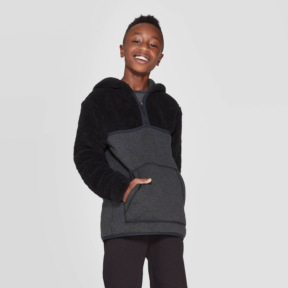 Image of Boys' Half Zip Sherpa Fleece Hoodie - C9 Champion Black L, Boy's, Size: Large