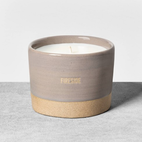9.3oz Reactive Glaze Ceramic Container Candle Fireside - Hearth & Hand™ with Magnolia - image 1 of 3