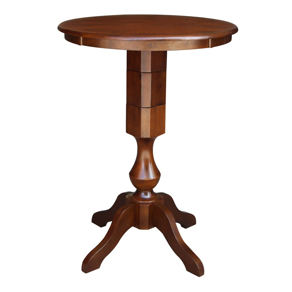 30 Nell Round Top Pedestal Table Bar Height Espresso International Concepts
