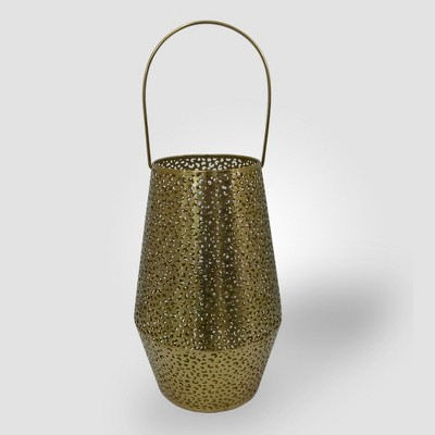 12  Perforated Leopard Print Outdoor Lantern Candle Holder Gold - Opalhouse™