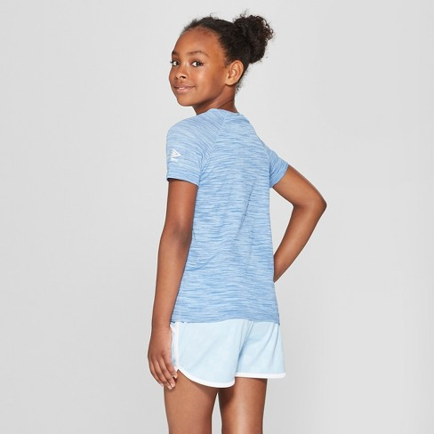 ec8397376f9 Umbro Girls  Short Sleeve Performance T-Shirt - Light Airy Blue ...