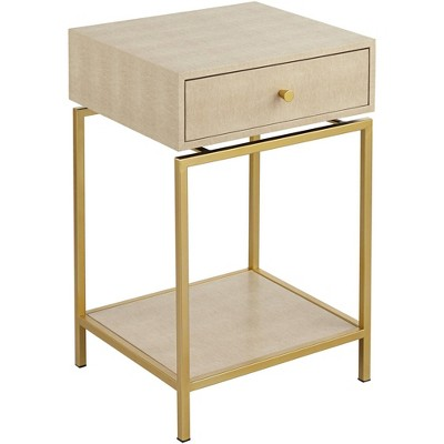 """55 Downing Street Clancy 16"""" Wide Cream and Gold 1-Drawer 1-Shelf Accent Table"""