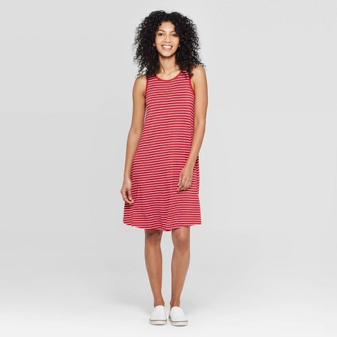 7a5d5f352eceb1 Women's Striped Regular Fit Sleeveless Round Neck Knit Tank Dress - A New  Day™ Red XS : Target